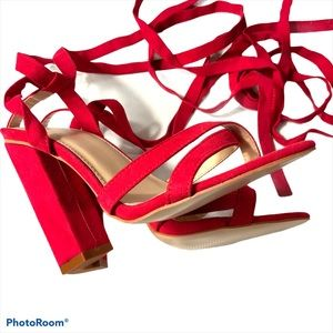Public Desire Mary Red Tie Up Block Heeled Sandals